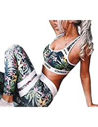 Smeiling Women 2 Piece Sports Bra and Yoga Pants Gym Outfits Breathable Suit Set
