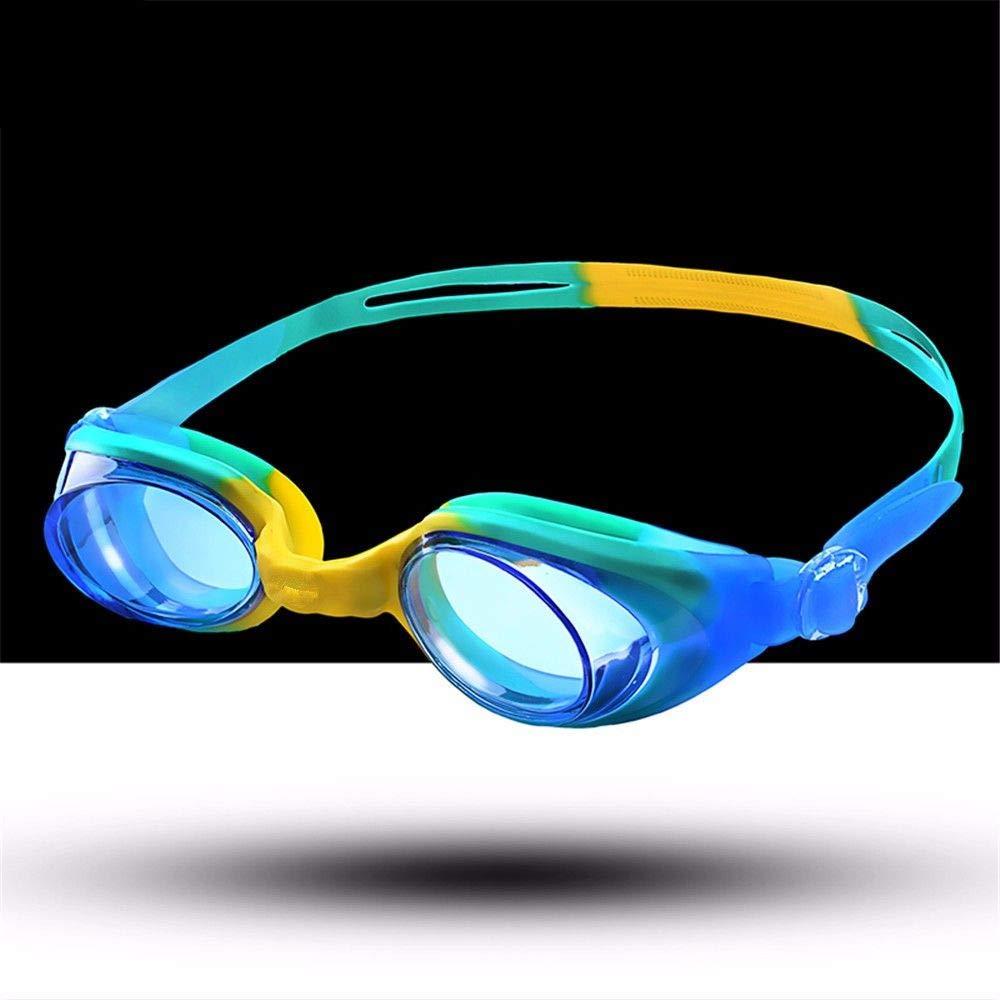Warm-yj Lunettes de Natation, Prougeection UV, Anti-Fuite et Anti-buée Lunettes de Natation en Triathlon pour Adultes Hommes Femmes Enfants Jeunes Bébés,Bleu Jaune Vert