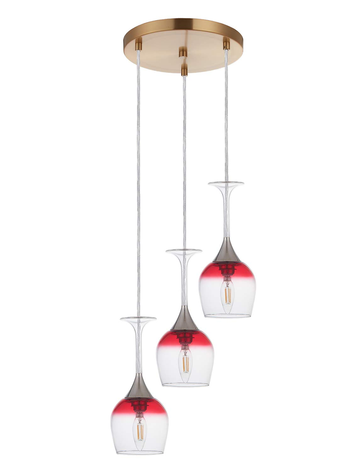 Doraimi 3 Light Wine Glass Chandelier with Antique Brass Finish, Modern Pendant Ceiling Lighting Fixture Patented Product for Dining Room Bar Cafe Kitchen Island Living Room, LED Bulb not Include