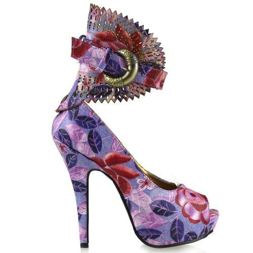 Mostrar historia multicolor patrón Floral o Animal Gladiador plataforma bombas, LF30402 púrpura - morado