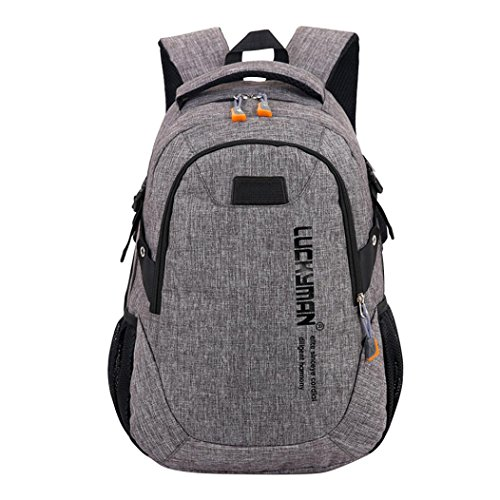 Unisex Hot Canvas Large Capacity Backpack Travel Bag Student Laptop Bag (Grey) by Napoo-Bag