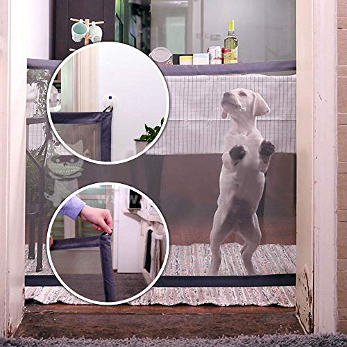 Mesh Security Gate - Magic Gate for Dogs Cat Portable Folding Safe Guard for Pet House Indoor Use Baby Safety Fence Retractable Mesh Gate Install