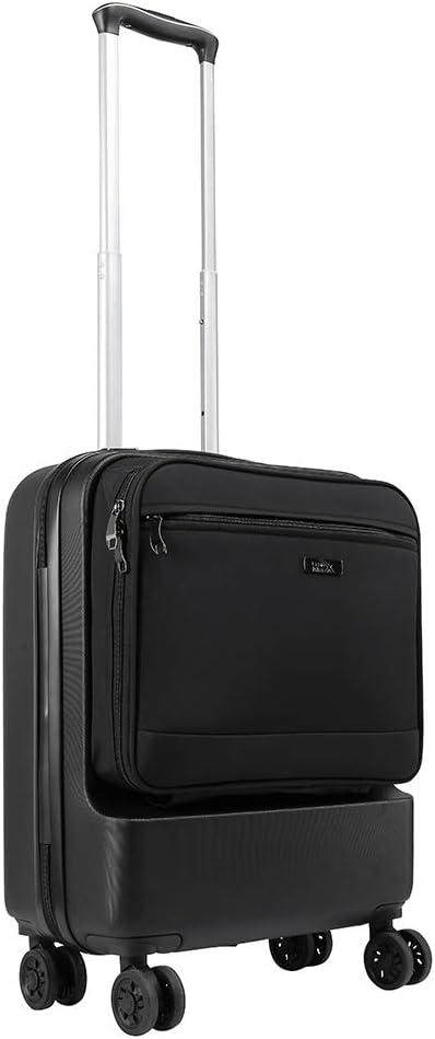 Cabin Max Fusion - Maleta de Cabina de ABS con Bolsillo de Viaje de Fácil Acceso - Maleta de Viaje de 55x40x20 cm con 4 Ruedas Giratorias - 3,3 kg y una Capacidad Masiva de 38L (Negro)