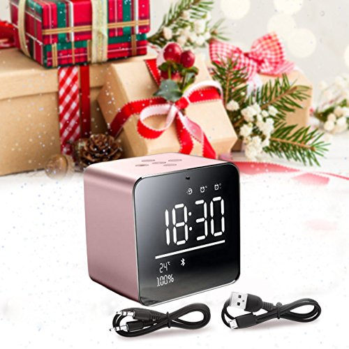 Wireless Bluetooth speaker,BOOMER VIVI Metal Mini Square Portable Speaker 2 sets of Alarm Clock LCD Screen 8H Playing Time TF Card for iPhone 6/6S/7 Indoor Outdoor(Rose Gold)
