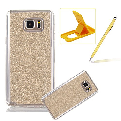 Cover for Samsung Galaxy Note 5,Rubber Case for Samsung Galaxy Note 5,Herzzer Super Slim [Gold Gradient Color Changing] Dust Resistant Soft Flexible TPU Bling Glitter Protective Case