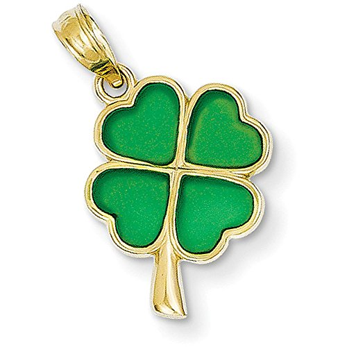 14k Yellow Gold 4-Leaf Clover Translucent Acrylic Pendant (Clover Gold 14k Yellow)