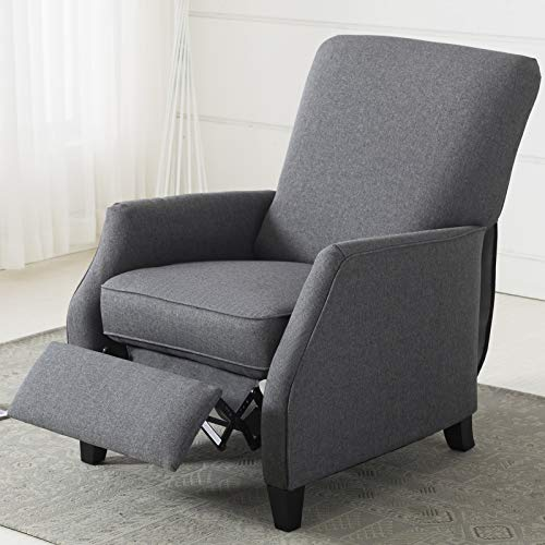 ANJ Contemporary Recliner Pushback with Simple Clean Lines Thickness Cushion, Grey