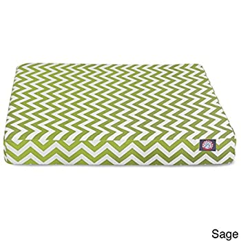 Image of 1 Piece Sage Green White Chevron Stripes Pattern Dog Bed Large Size, Beautiful ZigZag Stripe-Inspired Design Pet Bedding, Features Waterproof, Stain Resistant, Soft & Comfy Ultra Thick, Polyester Home and Kitchen