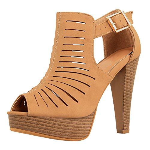 Heel Gladiator Sandals (Guilty Shoes Cutout Gladiator Ankle Strap Platform Fashion Heeled Sandals, Tan PU, 9)