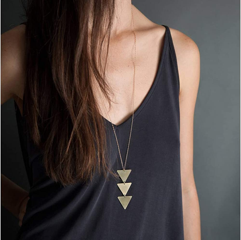 Fesciory 2 PCS Long Pendant Necklace for Women Gold Bar Triangle Y Necklace Jewelry Set for Girls