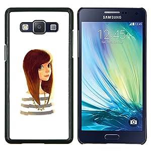 Caucho caso de Shell duro de la cubierta de accesorios de protección BY RAYDREAMMM - Samsung Galaxy A5 A5000 - linda chica inteligente blanco cabello castaño dorado