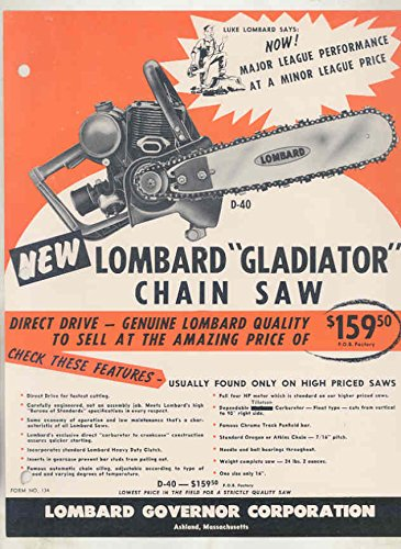 1957 Lombard Model D40 Chainsaw Brochure