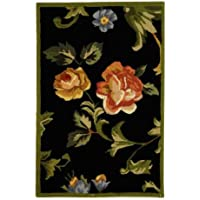 Safavieh Country & Floral Chelsea Black Runner Hand Hooked 2 6 x 12 Area Rug