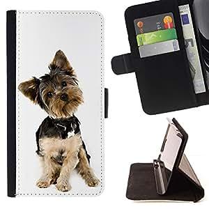 Momo Phone Case / Flip Funda de Cuero Case Cover - Cachorro Yorkshire Terrier blanco del perro Peque?o; - Samsung Galaxy A5 ( A5000 ) 2014 Version