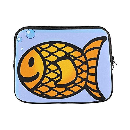 Design Custom Goldfish Fish Outline Drawing Line Orange Bubbles Sleeve Soft Laptop Case Bag Pouch Skin for MacBook Air 11
