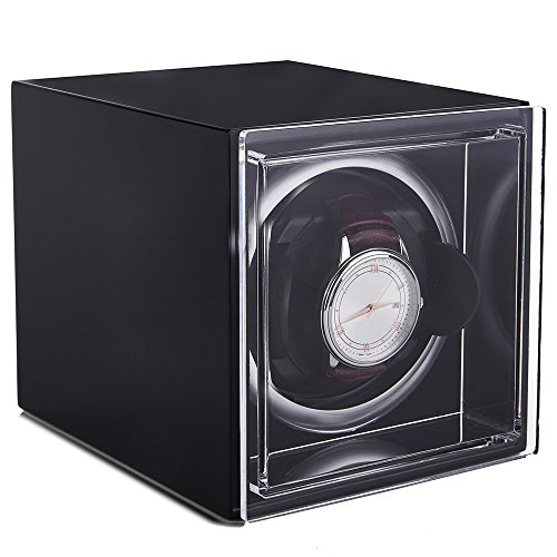 Single Watch Winder Black with 4 Rotation Mode Setting for Rolex, Fit Man Women Automatic Watch(Black)