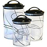 Corelle Coordinates by Reston Lloyd Acrylic Storage Canisters, Set of 3, Simple Lines