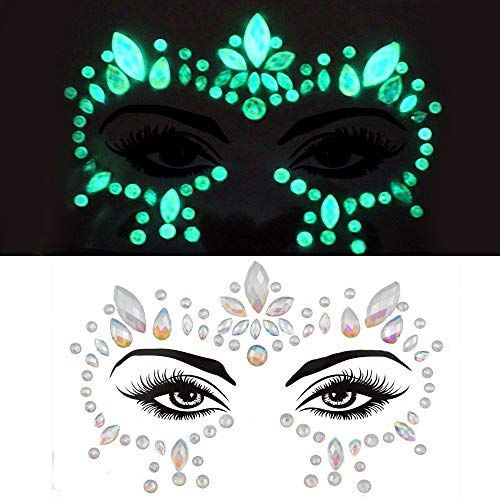 Halloween Rave Makeup (glow in the dark face gems face body jewels festival pastie fluorescence crystals rhinestone bindi face tattoo for halloween makeup women face sticker (tp319 around)