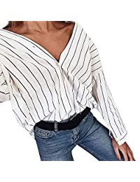 XUANOU Fashion Women Striped Casual Top T Shirt Ladies Loose Long Sleeve Top Blouse