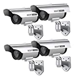 SANNCE Pack of 4 Dummy Security Camera Solar Facke CCTV Bullet Camera with Flashing Light