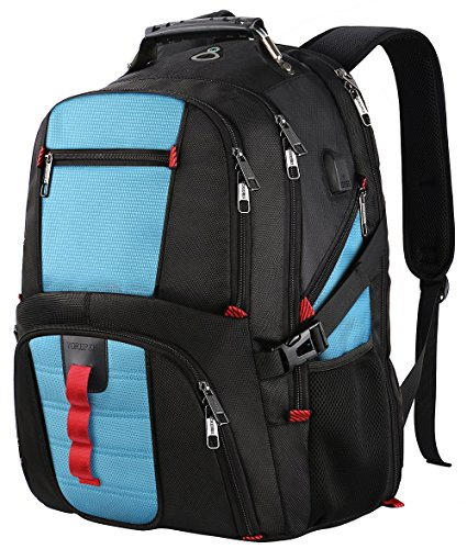 TSA Laptop Backpack,Large Capacity Travel Computer Laptop Backpack with Organizer Pockets/USB Port/Headphone Hole for Men&Women,Water Repellent Big Casual Work School Bookbag Fit 17Inch Notebooks-Blue by YOREPEK (Image #7)