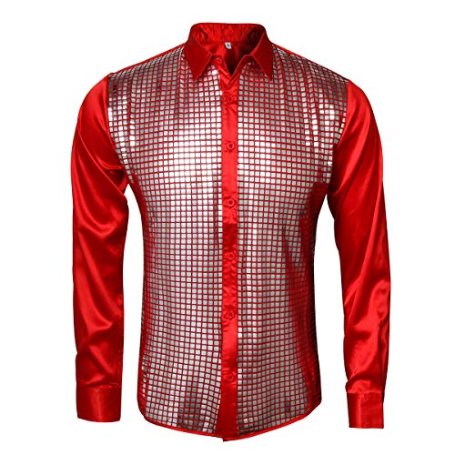 AMNPOLEN Mens Metallic Shiny Nightclub Costume Sequins Snakeskin Shirt Long Sleeve Slim Fit Button Down 70s Disco Party Fancy Dress Props (XX-Large, Red A) -