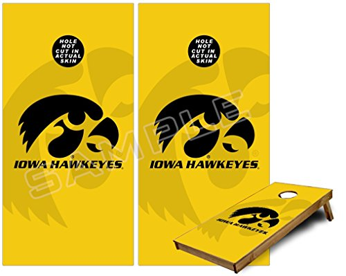Cornhole Bag Toss Game Board Vinyl Wrap Skin Kit - Iowa Hawkeyes Herkey Black on Gold (fits 24x48 game boards - Gameboards NOT INCLUDED)