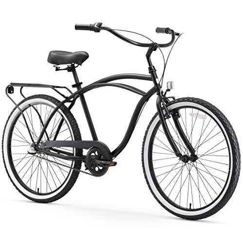 - sixthreezero Around The Block Men's 3-Speed Cruiser Bicycle, Matte Black w/ Black Seat/Grips, 26