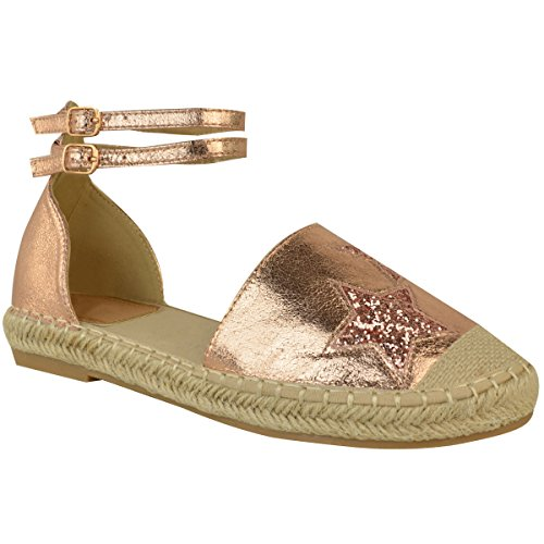 Fashion Thirsty Womens Flat Espadrilles Ankle Strap Summer Sandals Shoes Size Rose Gold Metallic