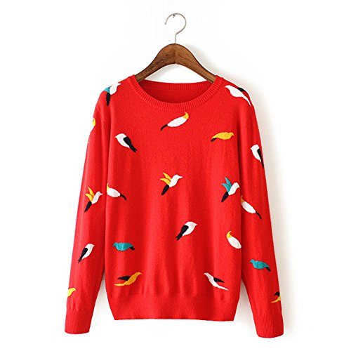 VANGULL Women Ladies Embroidery Birds Swallow Sweaters Shirts Blouses Hoodies (L, - Hoodie Birds