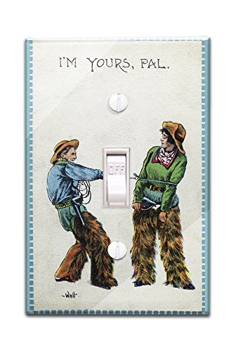 Comic Cartoon - Cowgirl Telling Cowboy I'm Yours Pal (Light Switchplate Cover) (Cartoon Cowgirl)