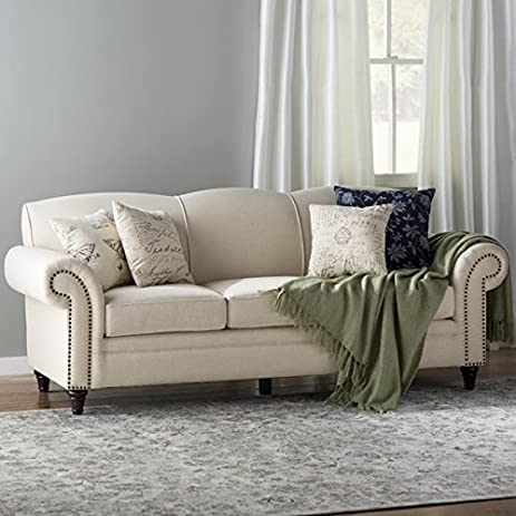 Charmant Sofa Including 4 Toss Pillows And 3 Seat Cushions Linen Bled Upholstery  Decorative Nail Heads Wood