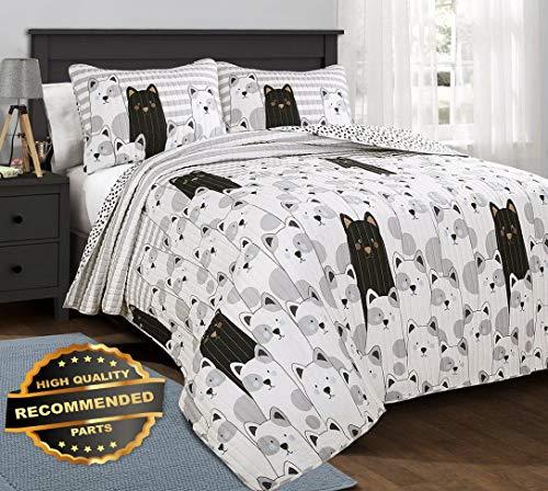Werrox Stripe Bear Quilt Set Black/Grey Reversible Pinstripe Teen Bedding Animal Size   Quilt Style QLTR-291268165 ()
