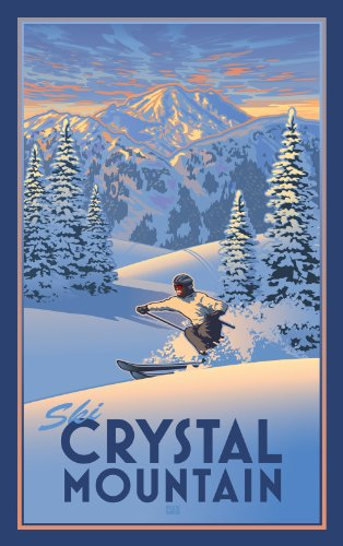 Northwest Art Mall Crystal Mountain Powder Skier Unframed Poster Print by Paul B Leighton