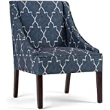 Simpli Home Hayworth Accent Chair, Cobalt Blue Patterned
