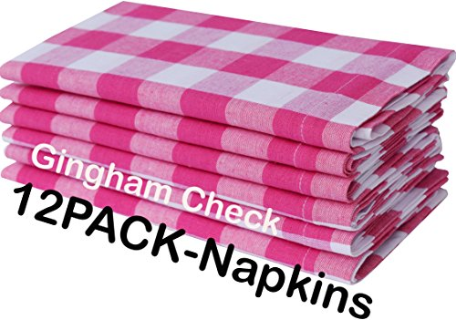 Pack Of 12 Hot Pink-white 100% Cotton Yarn Dyed Gingham Check Dinner Napkins 18x18Inch,Clambake Beach party Nautical Dinner Napkins as well offered by Linen Clubs