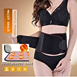 Lumbar Lower Back Brace and Support Belt with Dual Adjustable Straps.Spontaneous heat Acupuncture Magnetic Therapy-Trimmer Slimmer Compression Band for Weight Loss Workout Fitness (XL)