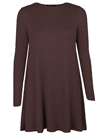 2056ea91a096 Women Long Sleeve Swing Dress Ladies A line Skater Dress Tunic Top Ruffles  Mini Dress Oversized 8-26 UK (20
