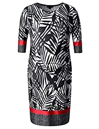 Chicwe Women's Plus Size Stretch Designed Leaves Shift Dress - Casual Dress
