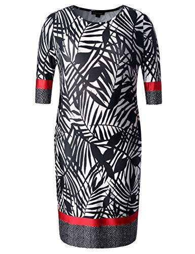 Chicwe Women's Plus Size Stretch Designed Leaves Shift Dress - Casual Dress with Border Pattern Black Multi 3X