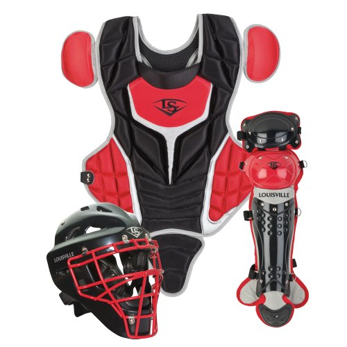 3 Piece Youth Set - Louisville Slugger Youth PG Series 5 Catchers Set, Black/Scarlet