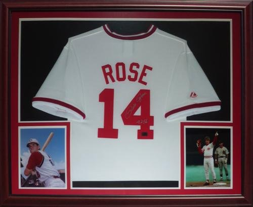 Pete Rose Autographed Cincinnati Reds (White #14) Deluxe Framed Jersey ()