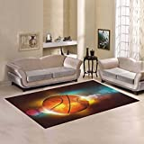 InterestPrint Sports Basketball Area Rug Floor Mat 7′ x 5′ Feet, Colorful Glow Boy's Playtime Playroom Carpet Rugs for Playroom Home Living Room Decoration For Sale