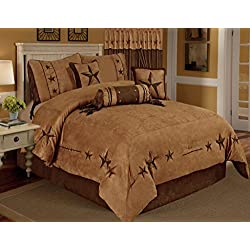 Camel Brown Texas Star Western Star Luxury Comforter - 7 Pieces Set (Oversized King)