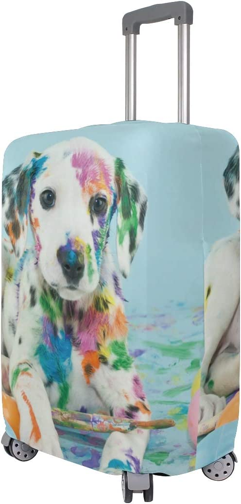 FOLPPLY Colorful Painting Puggy Dog Luggage Cover Baggage Suitcase Travel Protector Fit for 18-32 Inch