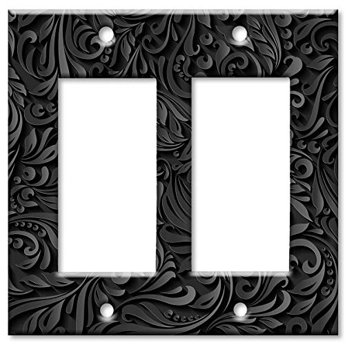 Art Plates Brand Double Gang Rocker (Decora) Switch/Wall Plate - Black Floral ()