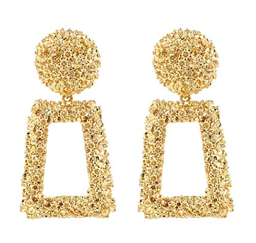 ATIMIGO Statement Drop Earrings Large Metal Geometric Dangle Earrings Gold for Women Girls