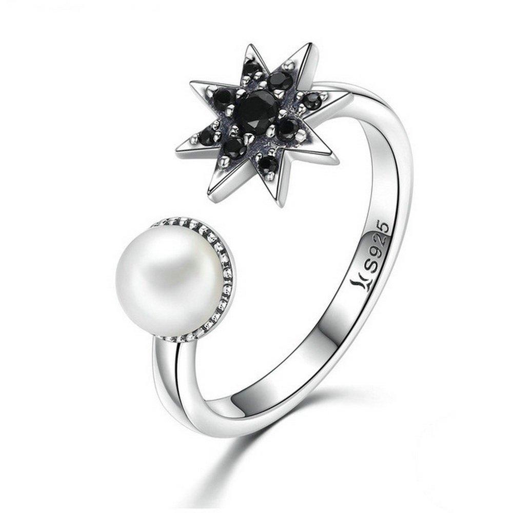 PAHALA 925 Sterling Silver Black Star Pearl With Crystals Cubic Zirconia Vintage Wedding Engagement Band Ring PAHALA71041