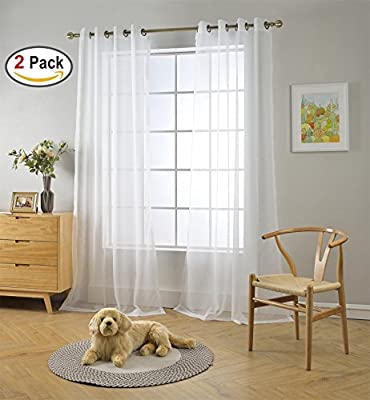 Miuco 2 Panels Grommet Textured Solid Sheer Curtains Curtain Panels for Living Room
