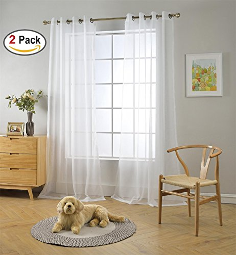 Miuco 2 Panels White Curtains Grommet Textured Solid Sheer Curtains 63 Inches Long for Living Room (2 x 54